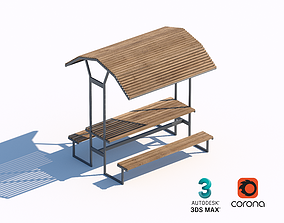 3D model wooden sunshade summerhouse bench and table