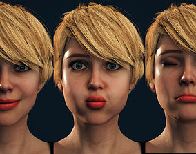 Rigged Female Model with Facial Blend shapes rigged