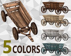 Wooden Cart 3D asset game-ready PBR