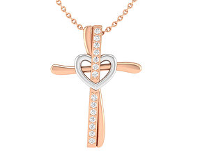 Cross pendant with heart 3dm stl render detail