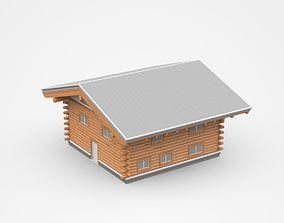 3D model Wooden Two-storey House area
