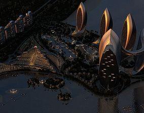 Seaside buildings 3D model