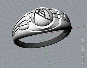 3D print model Ring with rose in art Deco style