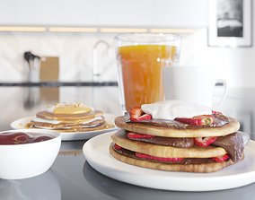 Breakfast Pancake Scene 3D model