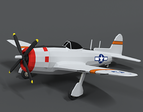 Low Poly Cartoon P-47 N Thunderbolt WWII Airplane 3D model