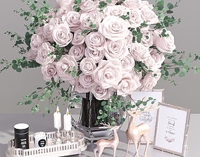 3D Realistic Classic Decorative Set French Rose Flower 1