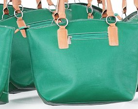 Green Brown Leather Handbag 3D asset