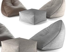 3D Set of poufs SAIL POUF TAUPE