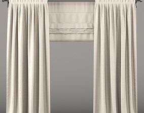 Beige curtains and roman blinds interior 3D