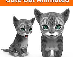 animated realtime cute cat gray animated 3D model