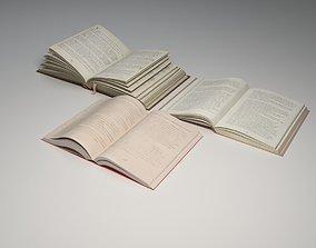 3D asset 3 open books 3