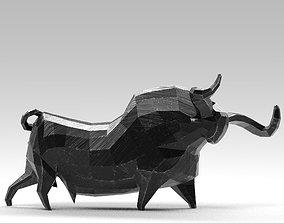 3D model Geometric black bull figurine