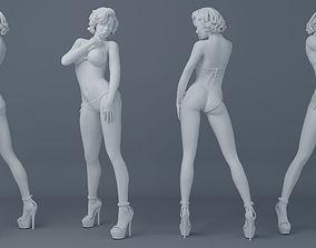 3D printable model Short hair girl wearing bikini 002