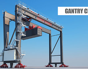 Gantry crane 3D harbour