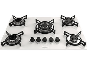 3D Cooktop Suggar White Glass 5 Burners FG5305BR