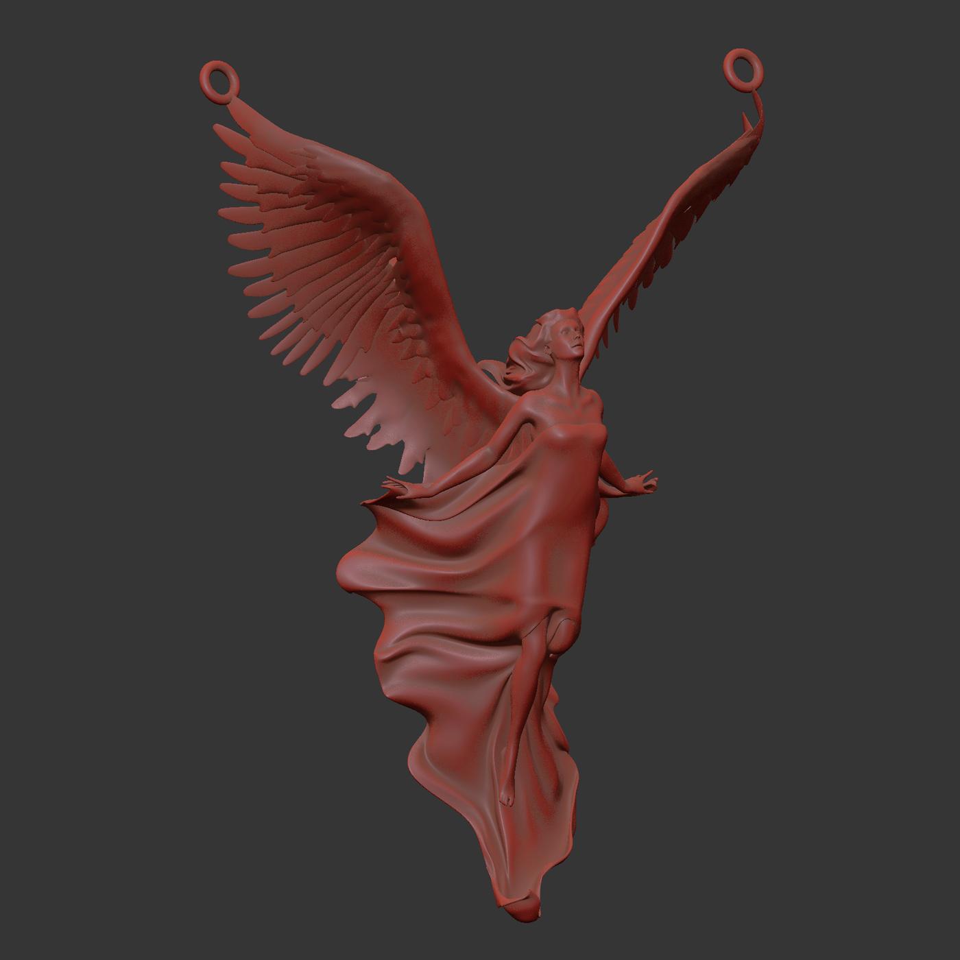 Angel the Wind Pendant Jewelry Gold 3D print model