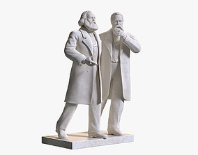 3D Marx and Engels Marble Sculpture