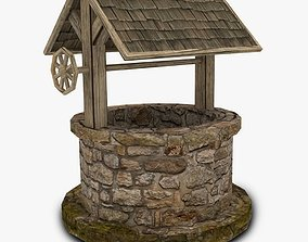 Low poly water well 3D model game-ready