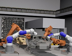 3D model Industrial Vehicle Assembly Robots