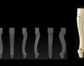 CABRIOLE CARVED Furniture Leg 3D Models set - 010