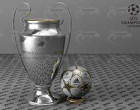 3D asset Champions League Ball and Cup