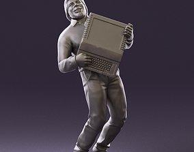 001030 happy beard man with computer 3D Print Ready
