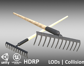Game-ready Rake Black - Clean and Dirty 3D asset