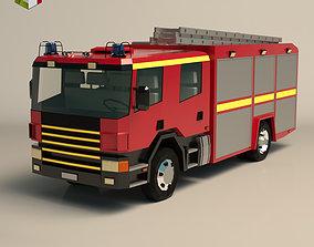 Low Poly Fire Truck 02 3D asset