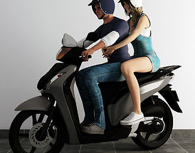 3D model couple ride scooter