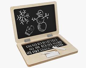 Wooden laptop chalkboard 3D