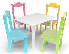 3D model Kids Table and Chairs Set