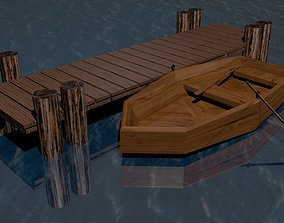 row boat by pier 3D