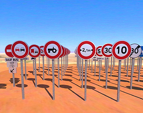Road signs fr B normal-sized 3D asset VR / AR ready