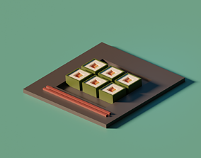 low poly sushi 3D printable model
