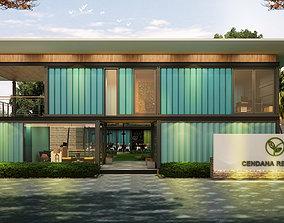 interior Container Office Facade 3D model
