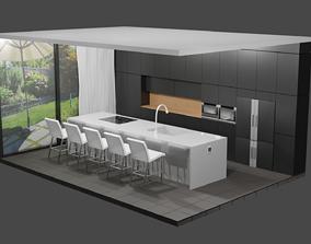 Modern Kitchen Scene 3D model low-poly