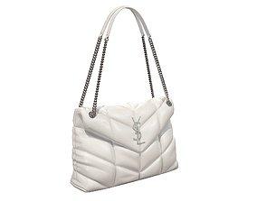 3D asset YSL Saint Laurent Loulou Puffer Bag White