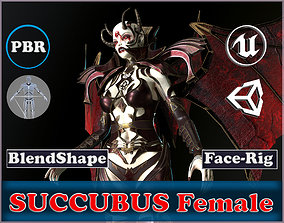rigged Succubus Female Game Ready Low-poly 3D model