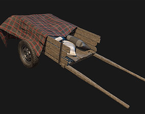 Low Poly PBR Wooden Cart with Sacks and Cloth 3D model