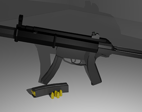 Game Ready Low Poly MP5SD 3D model