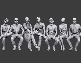3D model Lowpoly People Sitting Pack Volume 4