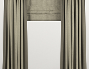 Beige curtains in two colors with Roman 3D model