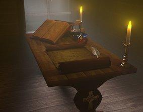sorcerer desk 3D asset