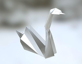 game-ready Realistic 3d Model of a paper Origami SWAN No 1