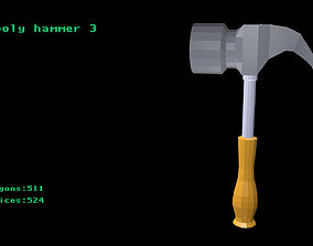 Low poly hammer 3 3D model