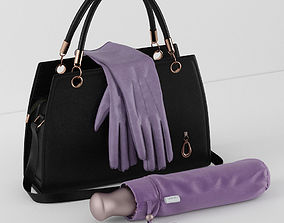 3D model handbag umbrella gloves