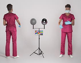 3D model African nurse working 264