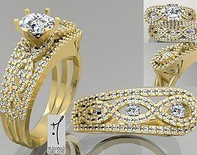 Gold Ring 3D print model engagement finger