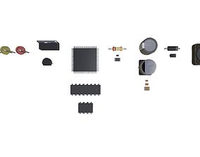 electronic components 3D asset game-ready
