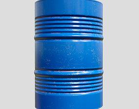 3D asset barrel metal blue